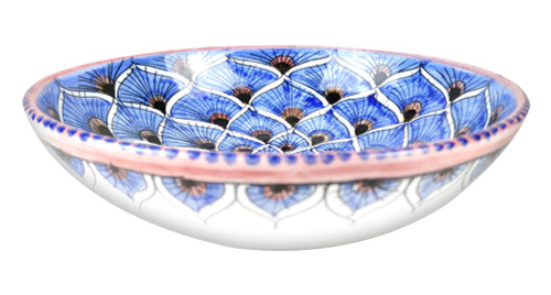 Italian ceramic pasta bowl hand painted with peacock blue decoration