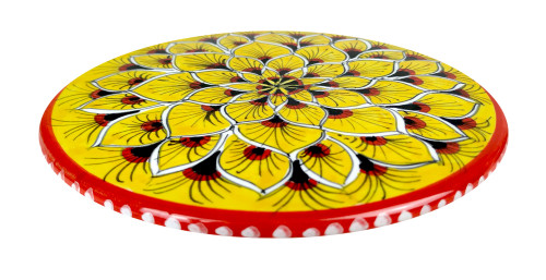 Ceramic Under pot peacock yellow