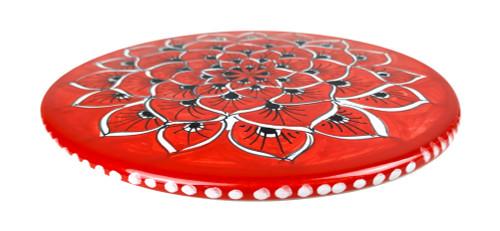 Deruta ceramic under pot peacock red