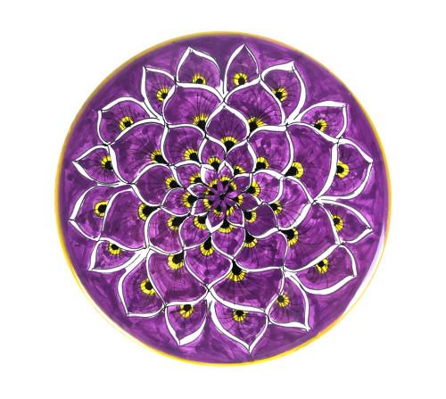 Deruta ceramic under pot peacock Purple
