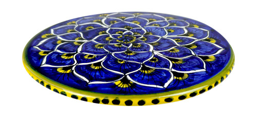 Deruta ceramic under pot blue  peacock decoration