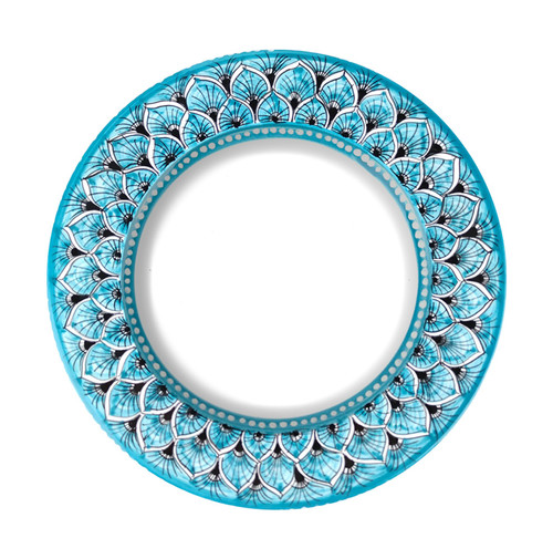 Deruta ceramics tableware, pasta soup plate peacock light blue