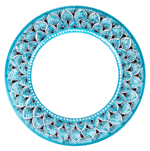 Deruta pottery dinner plate peacock light blue