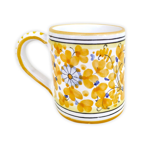 Deruta pottery made in Italy mug arabesco Yellow