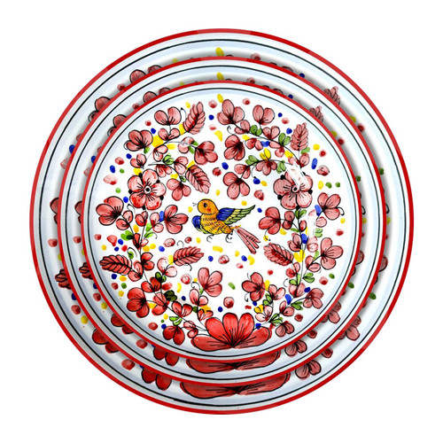 Deruta plates table set Arabesco red