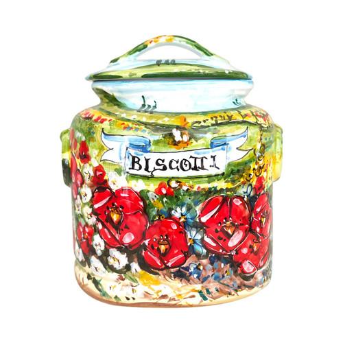 Italian ceramic cookie jar umbria decoration