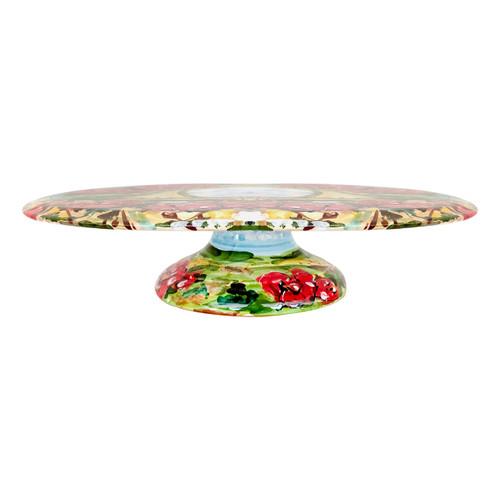 Ceramic cake plate hand painted umbria decoration