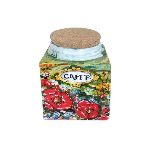 Italian ceramic coffe jar umbria decoration
