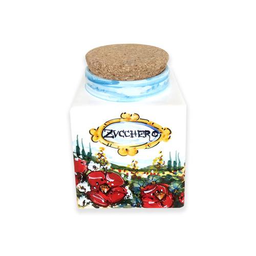 Italian ceramic sugar jar umbria decoration