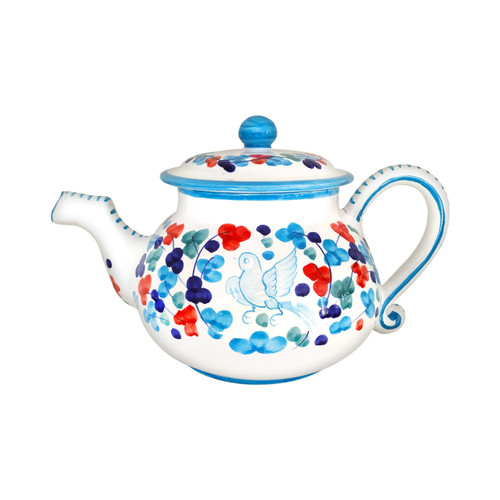 Italian ceramic teapot arabesco light blue