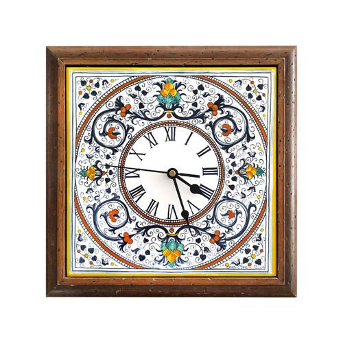 Italian ceramic wall clock with ricco deruta decoration