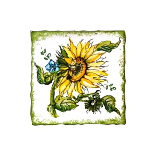 Italian pottery brick with sunflower decoration handpainted