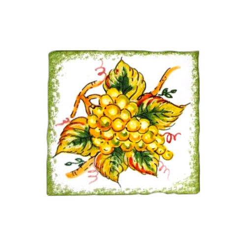 Italian ceramic brick with grapes decoration handpainted
