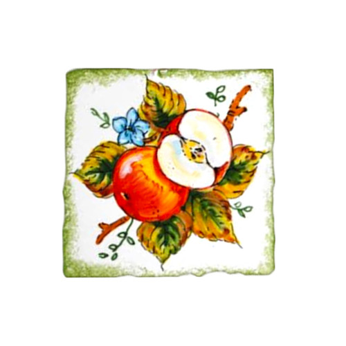 Apple ceramic brick painted by hand in Deruta