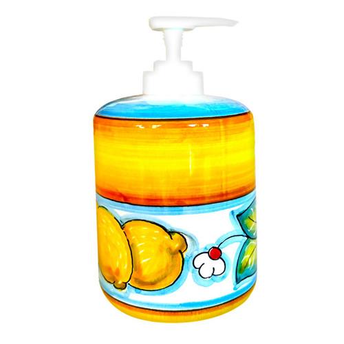 Soap Dispenser Lemons light blue and yellow decoration