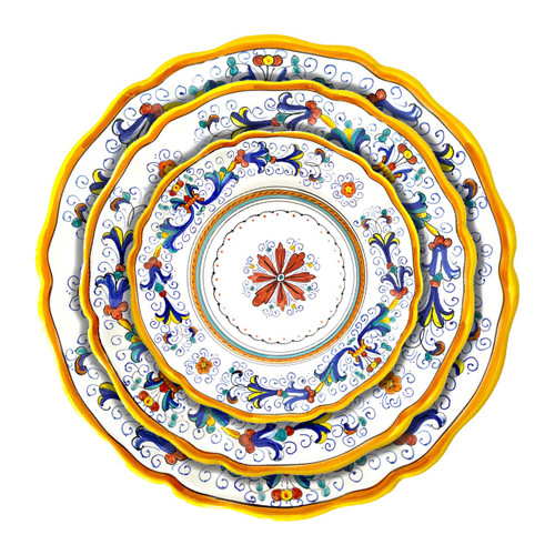 Italian ceramic Ricco Deruta sim edge table set