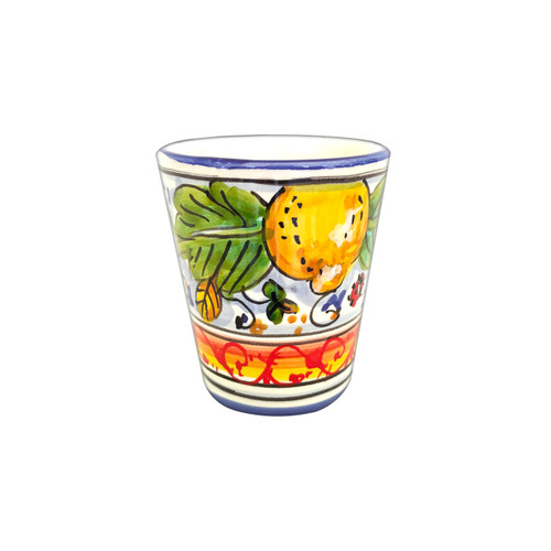 Ceramic drinkware Deruta handpainted with lemons decoration