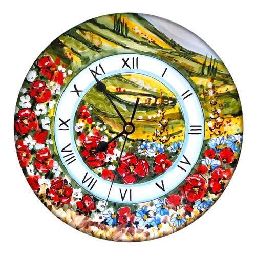 Deruta clock ceramic handpainted by mod maioliche originali deruta