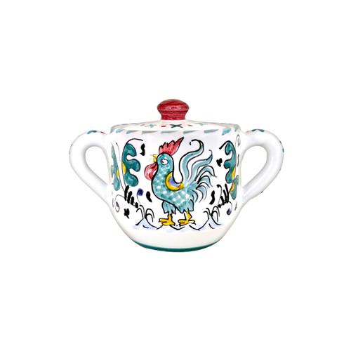 Sugar bowl italian ceramic with red decoration Orvietano