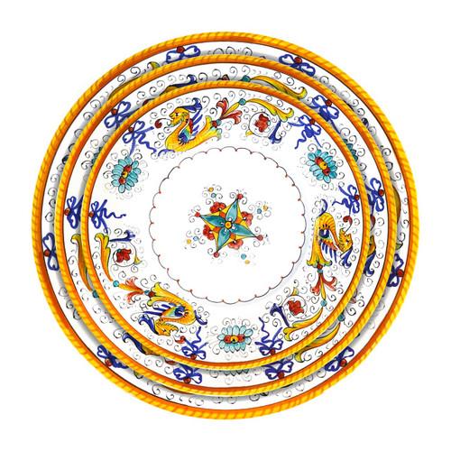Italian ceramic raffaellesco handpainted table set, three plates