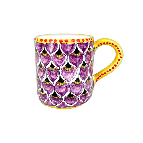 Ceramic's mug with peacock purple decoration made in Italy