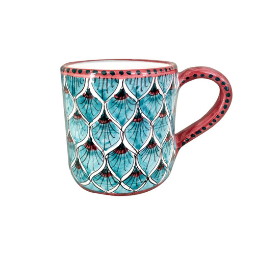 Clay's mug with peacock light blue decoration made in Italy