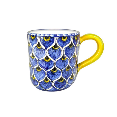 Italian pottery mug with peacock Blu decoration made in Italy