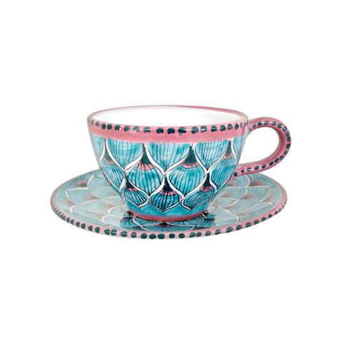Italian pottery tea cup handmade in Deruta