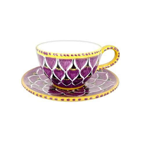 Majolica tea cup handmade in Deruta