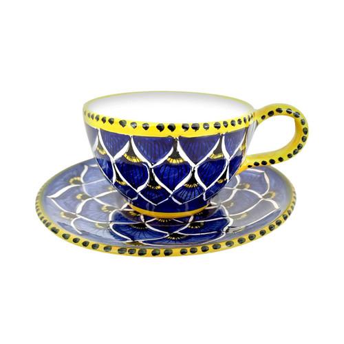 Italian pottery teacup peacock Blu
