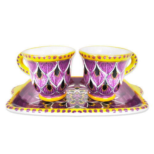 Italian coffe cups hand painted peacock purple decoration
