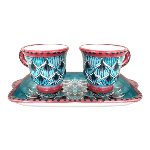 Ceramic coffe cups hand painted peacock light blue decoration