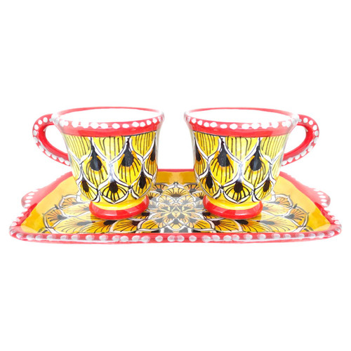 Pottery store of coffe cup peacock  yellow decoration hand painted by deruta