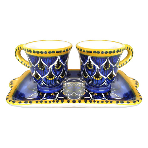 Deruta ceramics coffe cups peacock blu decoration