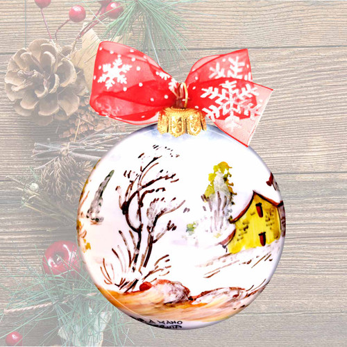 Deruta pottery hand painted christmas ball