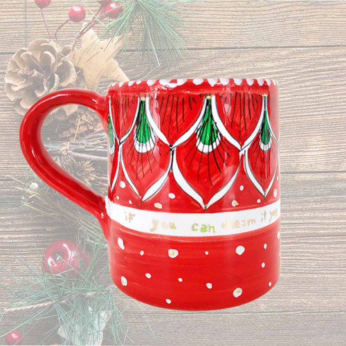 Italian pottery christmas mug hand painted by mod