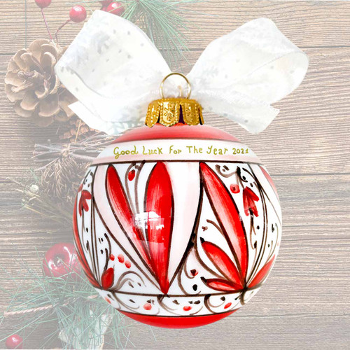 Pottery store christmas ball Red handpainted