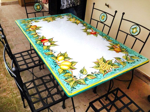 Stone table top hand painted by mod ceramics