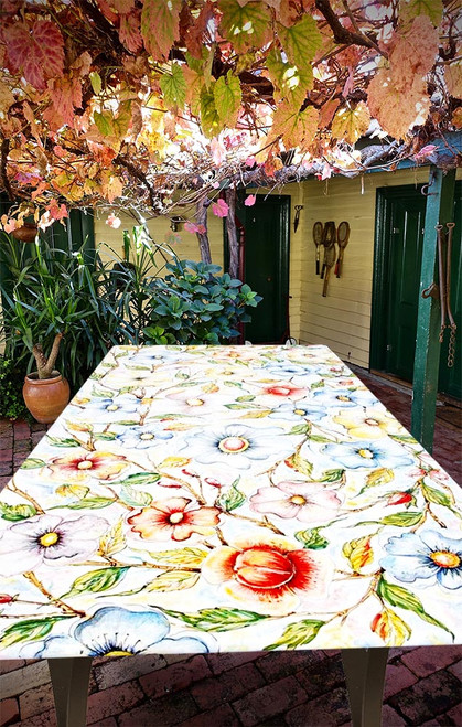 Stone garden table handpainted