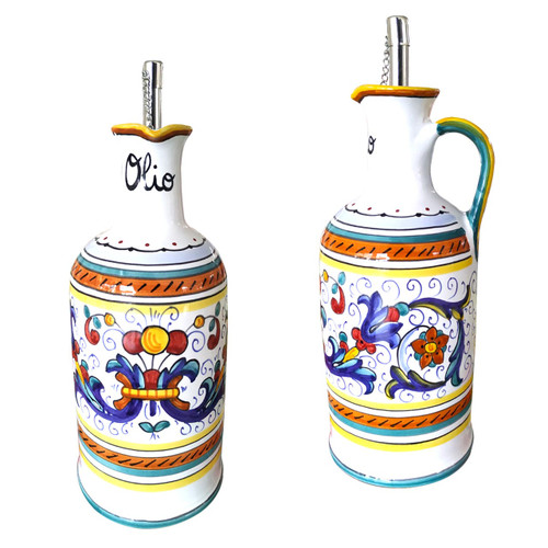 Italian ceramic ricco deruta oil bottle