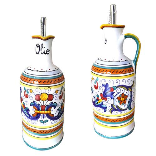 Italian ceramic ricco deruta oil bottle