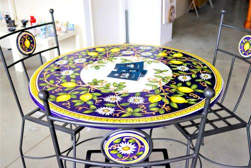 Italian ceramics garden table Deruta