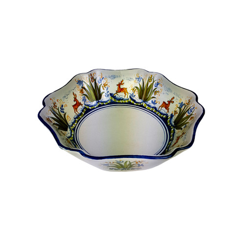 Italian pottery salad bowl with deep decoration