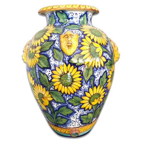 Large ceramic vase SunFlowers hand painted