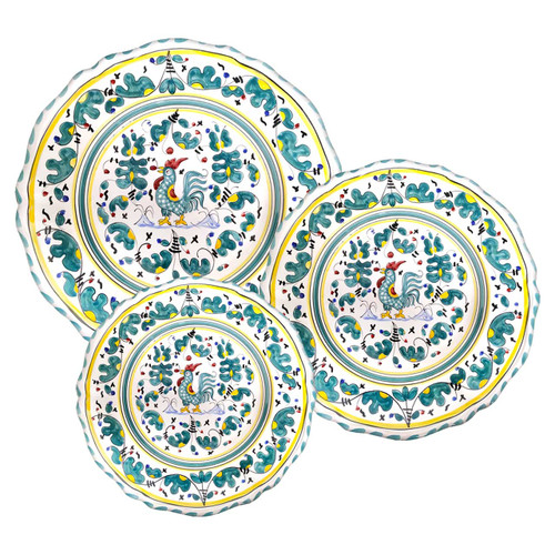 Orvietano green table set hand painted