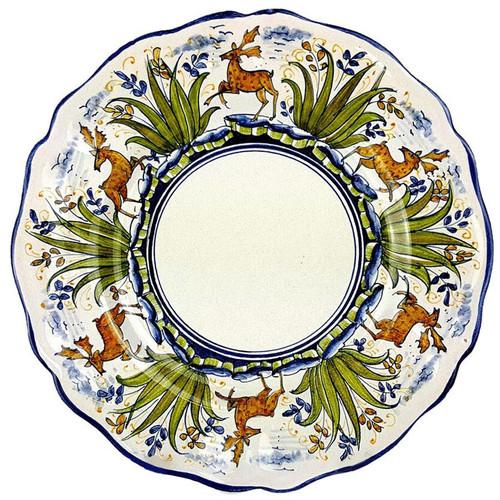 Italian ceramic dinner plate deer decoration