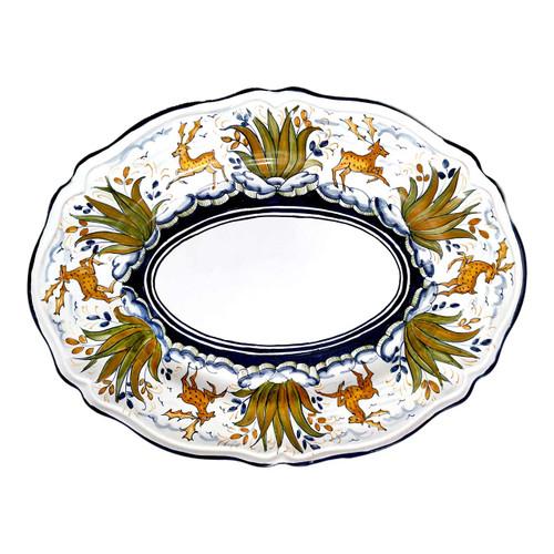 Oval serving Deer of ceramic handpainted in Deruta-Mod Maioliche Originali Deruta