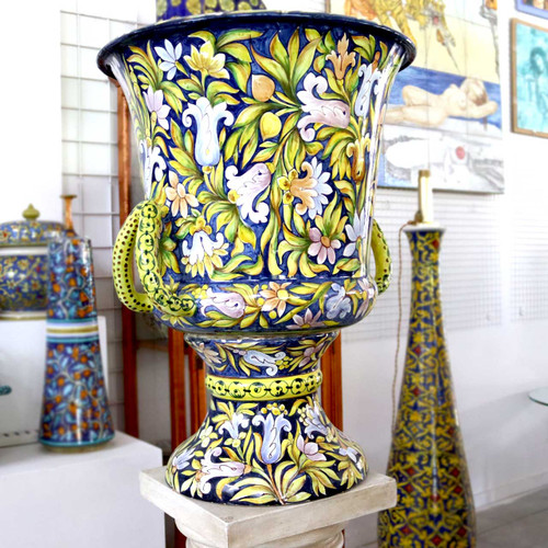 Large Italian ceramic vase all hand-decorated with floral motifs.