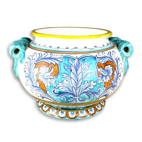 Italian ceramic vase renaissance decoration.
