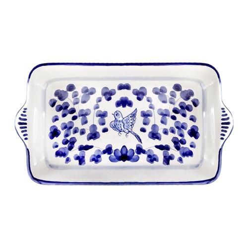 Italian Pottery Tray Arabesco Blu
